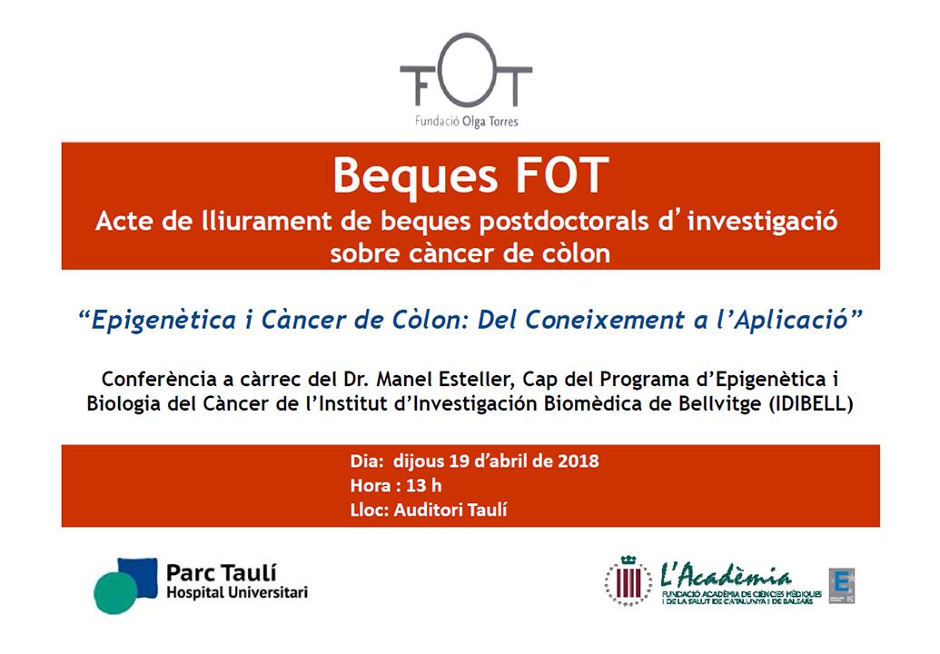 La Fundació Olga Torres destina 120.000 euros anualsa finançar projectes de recerca sobre càncer de còlon