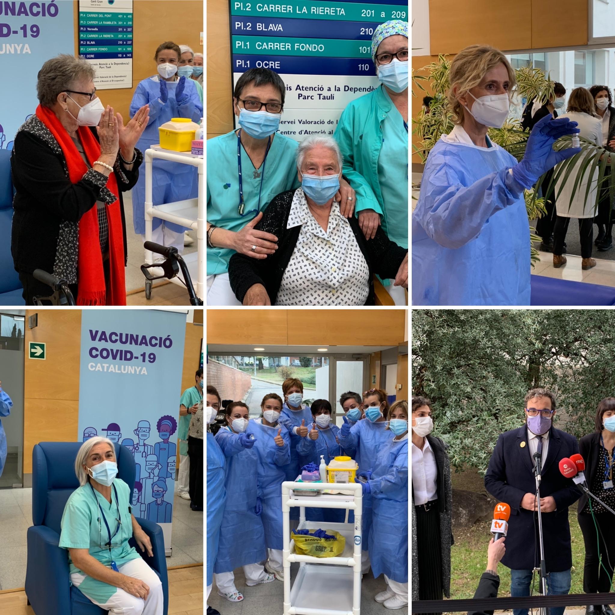 Marina Benavent, resident a Sabadell Gent Gran, rep la primera vacuna contra la COVID-19 de la Regió Metropolitana Nord
